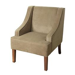 HomePop K6499-B117 Swoop Arm Accent Chair, Medium, Tan
