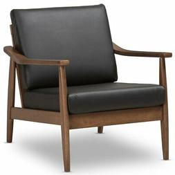 Baxton Studio Venza Faux Leather Accent Arm Chair in Black a