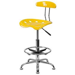 Vibrant Orange-Yellow and Chrome Drafting Stool with Tractor