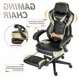 Video Gaming Chair Office Computer Swivel Leather with Footr