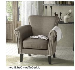 vintage arm studded fabric club chair coffee