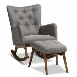 Baxton Studio Waldmann Mid-Century Upholstered Rocking Chair