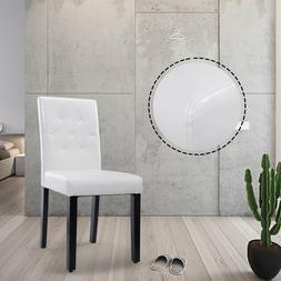 White Dining Chairs Elegant Leisure Armless Kitchen PU Uphol