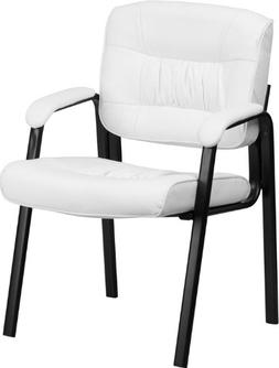 White Leather Guest / Reception Chair Black Frame Finish