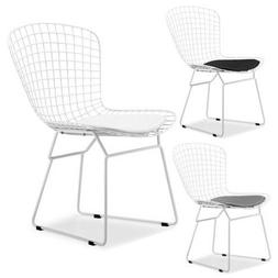 White Metal Dining Chair Side Chair With Seat Cushion
