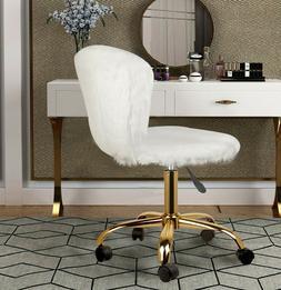 White Vanity Chair Makeup Stool Chair Golden Swivel Base
