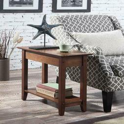 Wood Small End Table Side Chair Narrow Living Room Accent So