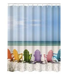 "Wooden Chairs on Relaxing Beach Shower Curtain 72"" x 72"""