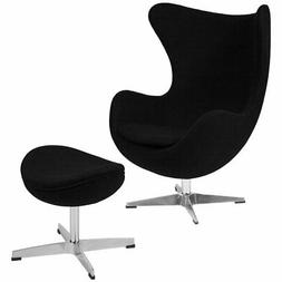 Flash Furniture Wool Egg Chair and Ottoman in Black