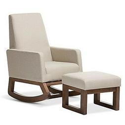 Baxton Studio Yashiya Retro Modern Rocking Chair & Ottoman S