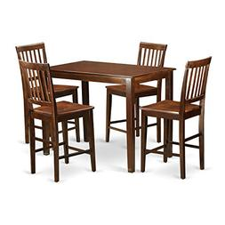 East West Furniture YAVN5-MAH-W 5 Piece Pub Table and 4 Chai