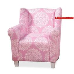 youth upholstered accent chair pink and white