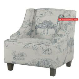 Homepop Youth Upholstered Swoop Arm Accent Chair,  Jungle Pr