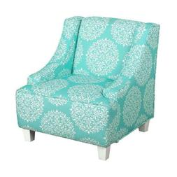 HomePop Youth Upholstered Swoop Arm Accent Chair, Teal and C