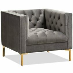 Baxton Studio Zanetta Velvet Tufted Lounge Chair in Grey and