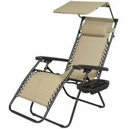 Zero Gravity Canopy Lawn & Folding Patio Chair with Sunshade