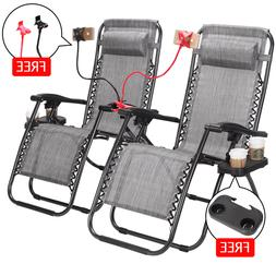 Zero Gravity Lounge Patio Chairs Case of 2 Cup Phone Holder